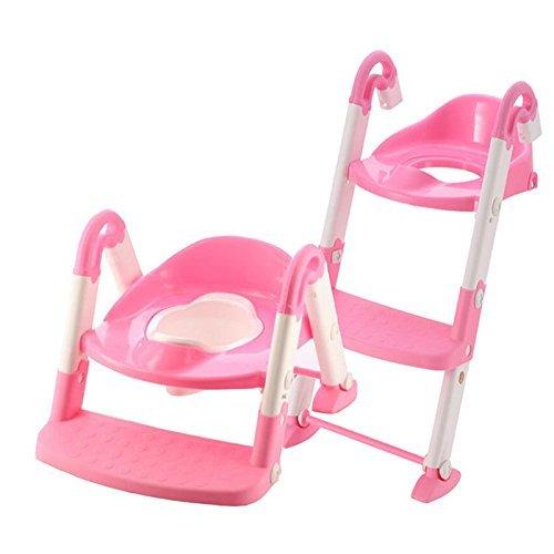 ERWEY Toilettentrainer 3 in 1 Kindertoilette Baby-Toilettenleiter Toiletten-Trainer mit Stufen Töpfchen-Trainer Kinder WC Sitz Toilettensitz Kinder (pink)