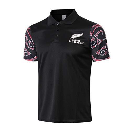 LXIN 2019 Nouvelle-Zélande All Black Team Coupe du Monde Polo Shirt Hommes Rugby Jersey Casual Survêtements Ronds Respirant Soccer Jersey Chemise À Manches Courtes Chemise De Sport Cadeau,E,S