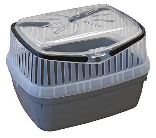 PETGARD Transportbox für Kleintiere wie Hamster, Meerschweinchen, Kaninchen usw. Grau