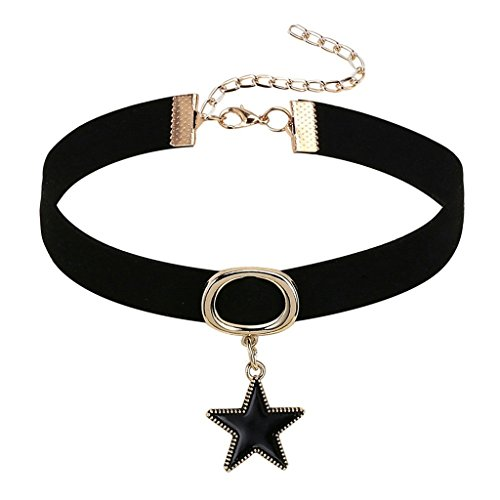 Daesar Joyería Gargantilla Terciopelo Negro para Mujer Velvet Gótico Negro Estrella Cadena Oro Negro Chokers Necklace 32+8.5cm