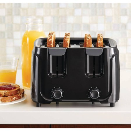 Mainstays 4-Slice Toaster, Black