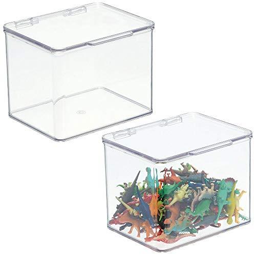 mDesign Organizador de juguetes con tapa – Juguetero apilable de plástico robusto – Caja de almacenaje para guardar juguetes o manualidades en la habitación infantil – Juego de 2 – transparente