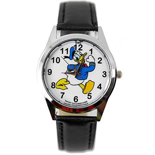 TAPORT® Kinder Uhr Analog Quarzwerk mit Leder armband Disney Donald Duck Schwarz Rund