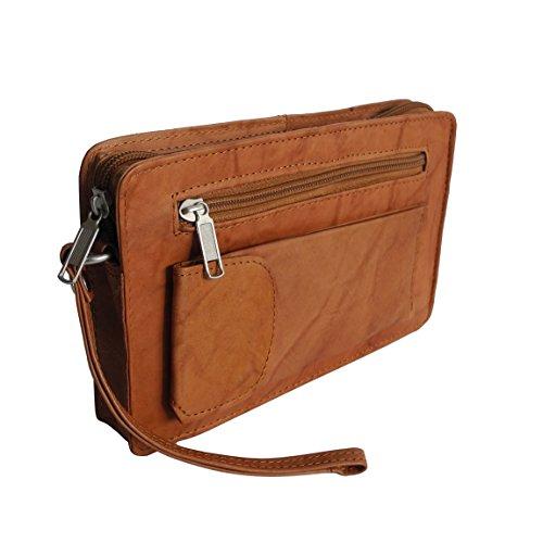 Bag Street Borsello in cuoio, da uomo, con fascetta per polso,disponibile con tasca doppia o singola, colori assortiti, ZMOKA marrone chiaro Tan Einzelkammer