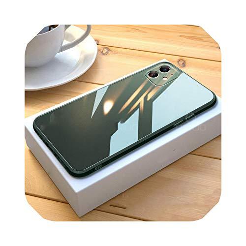 Funda para iPhone 11 12 Pro Max Mini X XR XS Max 8 7 Plus SE 2020 de cristal templado líquido cuadrado a prueba de golpes, marco suave s-verde oscuro - para iPhone 12 Mini