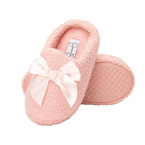 Jessica Simpson Girls Slip-On Clogs - Fuzzy Comfy Warm Memory Foam Sherpa Slippers with Satin Bow,Pink,Small Little Kid