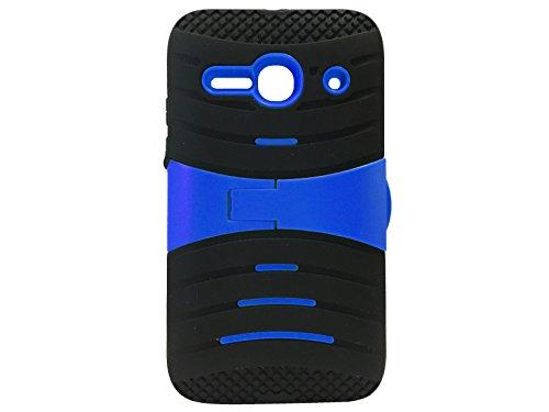 FastSun U-Stand Hybrid Case Phone Cover for Alcatel Onetouch Pixi Pulsar LTE A460G (Black-Blue)