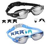 Lot de 2 lunettes de natation + pince-nez + bouchons d'oreille + pièces de nez remplaçables,...