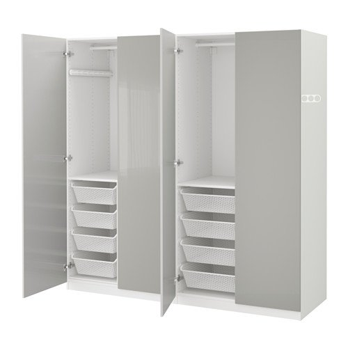 Why Should You Buy IKEA Wardrobe, White, Fardal high-Gloss Light Gray 2204.232911.1434
