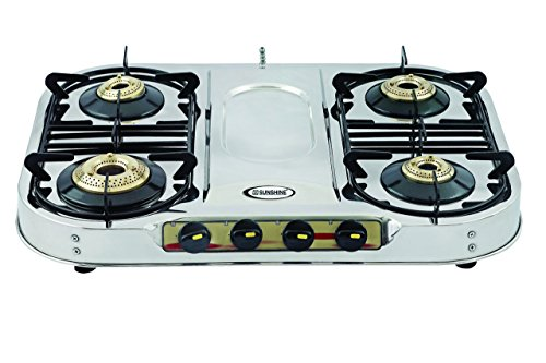 SUNSHINE Skytech Plus 4 Burner Stainless Steel Gas Stove Manual Ignition (Silver, ISI Certified)