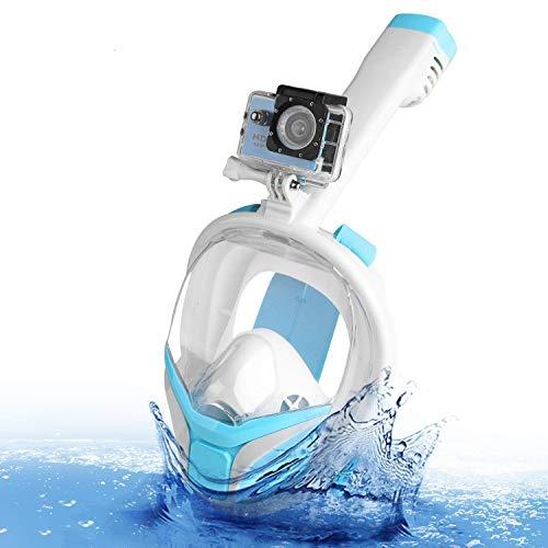 Speedsporting Masque de Plongée, Masque Snorkeling Plein Visage 180° Visible, Antibuée Anti-Fuite sous-Marine, Snorkel Masque avec la Support pour Caméra de Sport (Turquoise+White, S/M)