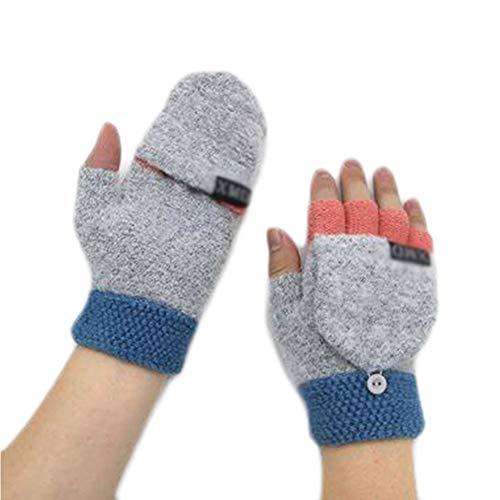 Beau Bleu Gants Finger Flip Laine Garder au Chaud pour Writing (10-15 Ans)
