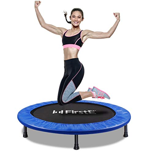 FirstE 40'' Portable Fitness Trampolines, Foldable Mini Trampoline for Adults and Kids with Safety Anti-Skid Pads Exercise Rebounder, Recreational Jump Trampoline for Indoor Outdoor, Max Load 330lbs