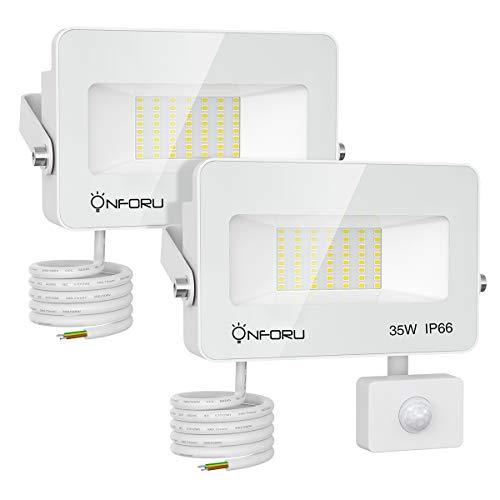 Onforu 2 Pezzi 35W Faretto LED da Esterno con Sensore di Movimento, IP66 Impermeabile, 3000LM Proiettore LED Esterno Luce Bianca Fredda 5000K, Fari di sicurezza per Parcheggio, Ingresso, Corridoio