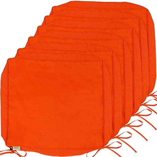 Outdoor Cushion Covers, 6-Pack Deep Seat Patio Cushion Cover, Heavy Duty Outdoor Furniture Lawn Couch Sofa Chair Seat Cushion Replacement, 24 x 22 x 4 Thick, Set of 6, Orange
