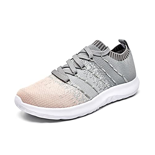 Zapatillas Running Mujer Deportivas Casual Tenis Sneakers Antideslizantes Fitness Transpirables Caminar Zapatos para Correr Gris/Rosa 39 EU
