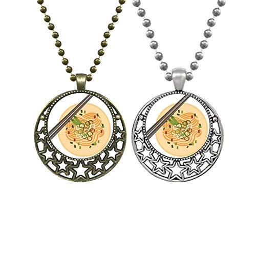 Halskette mit Anhänger, chinesische Nudeln, köstliches Essen, Retro, Mond, Sterne, Schmuck
