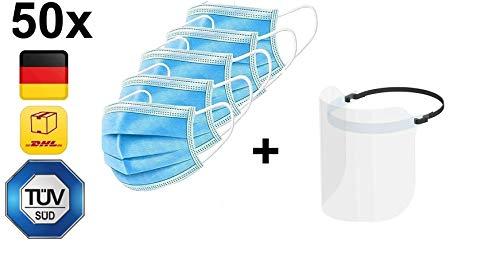 50x DECADE Einweg Maske + XQISIT Bundle - Gesichtsmaske Vlies Einwegmaske Mundschutz Staubschutz mit Ohrschlaufen