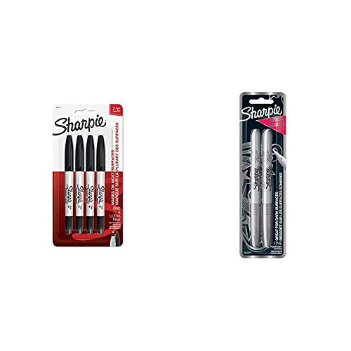 Sharpie Twin Tip Permanent Markers, Fine & Ultra-Fine Points, Black, 4 Pack (32175PP) & 39108PP Fine Point Metallic Silver Permanent Marker, 1 Blister Pack with 2 Markers each (Packaging May vary)