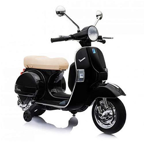 Moto Scooter Elettrico per Bambini Ufficiale Piaggio Vespa PX 150 12V con Rotelle Sella in Pelle Ingr Mp3 Luci LED Suoni (Nero)