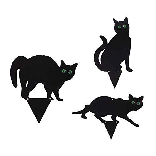 Gazechimp Juego de 3, Garden Scare Cats - Control de Plagas para Exteriores con Ojos Reflectantes - Decoración para Jardín, Patio