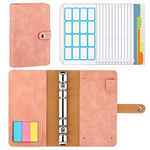 MoKo 6 Löcher Binder Notizbuch, A6 PU Leder Loseblatt Notizbuch Binder Notebook mit 12 Stück Transparenten Binderumschläge, 16 Labels, 3 Farben Haftstreifen, 4 Register & Nachfüllpapier, Altrosa
