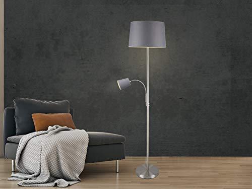 Moderne Stehleuchte mit Leselampe in Silber matt mit Stoffschirm Ø40cm in Grau