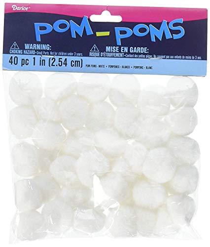 Darice 40-Piece Acrylic Pom Pom, 1-Inch, White
