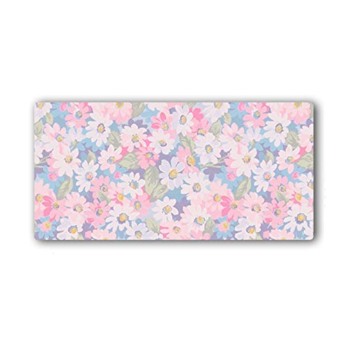 HmDco Rosa bureau-onderlegger extra grote muisonderlegger dikke slipvaste muismat, 300x700x3mm, bloemen