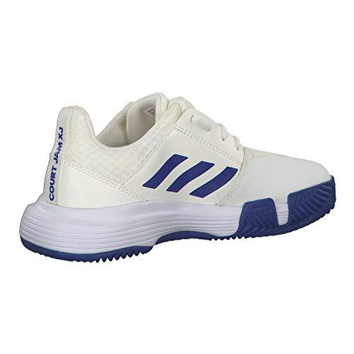 adidas Courtjam Xj, Unisex Kid's Tennis Shoe, Off White/Ftwr White/Team Royal Blue, 3 UK (35.5 EU)