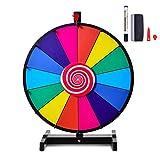 COSTWAY 18/24 Pollici Gioco Ruota della Fortuna da Terra&Tavolo, Wheel of Fortune con Marcatore e Cancellatore, 2 Indicatori da Ricambio, 14 Slots, per Carnevale e Feste (24 Pollici)