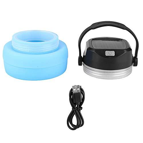 Multifunktionale Wasserflasche Sport Trinkflasche 5V USB Solar Ladeenergie Bank Hängen Laterne Camping Licht LED Lampe Silikon Faltbare Faltbare Multifunktionsflasche für Camping Wandern Reisen(Blau)