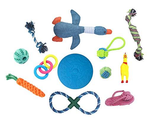 Juguetes para perros para evitar el aburrimiento de los perros, ansiedad y masticar juguetes para perros pequeños y medianos cachorros,, juegos de regalo de cumpleaños, paquete de 12
