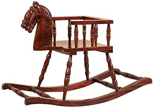 Biscottini Cavallo a Dondolo in Legno massello di Mogano Finitura Noce 75x30x50 cm