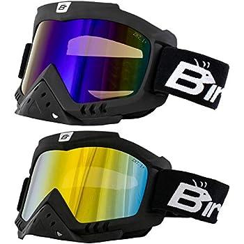 2 Pairs of Birdz Eyewear Toucan Motorcycle ATV Ski Padded Goggles with Detachable Nose Guard & ReflecTech Red & ReflecTech Blue Lenses