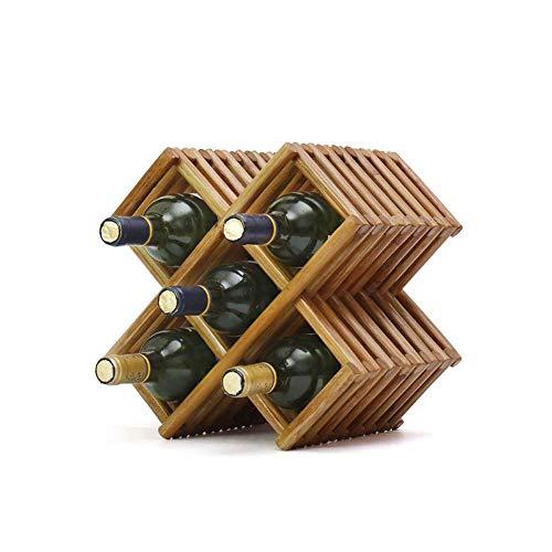 Cubo De Bambú Del Estante Del Vino Apilable Para 5 Botellas, De Pie Libre, Horizontal, Vertical, O Montado En La Pared, Botellero, Portabotellas, Titular Del Vino