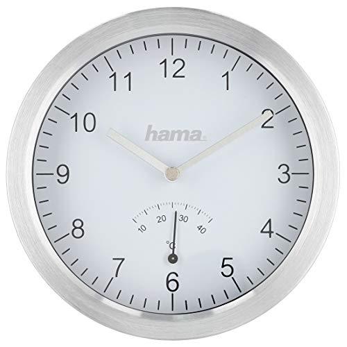 Hama Badezimmeruhr mit Saugnäpfen und Thermometer (Quarz-Uhr, spritzwasserfest, bohrfreie Montage, 17cm Durchmesser, Aluminium) Baduhr silber