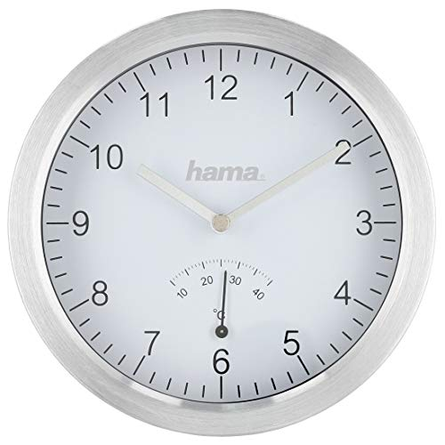 Hama Reloj de baño con ventosas y termómetro (Reloj de Cuarzo, Resistente a Salpicaduras, Montaje sin Agujeros, 17 cm de diámetro, Aluminio), Color Plateado