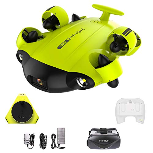 QYSEA FIFISH V6 ROV Underwater Drone with 4K UHD Camera, VR Headset, Dive to 330ft, 166° FOV, 4000lm LED Support 360° Movement, Posture Lock, Slow Motion, Image Stabilization, APP Real-Time Viewing