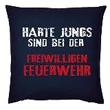 Tini - Shirts Feuerwehr Motiv Kissen - Deko-Kissen Feuerwehr Spruch : Harte Jungs sind bei der...