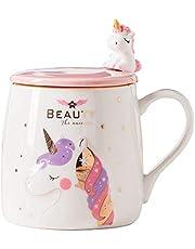 BigNoseDeer Kubek z jednorożcem uroczy ceramiczny kubek do kawy z piękną łyżką jednorożca, kubek poranny nowość kawa herbata mleko kubek świąteczny prezent dla magicznego jednorożca kochanków dziewczyn 380 ml