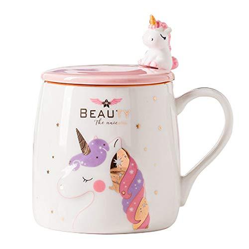 Taza Unicornio Taza de café de cerámica linda con una encantadora cuchara de unicornio, Copa de la mañana Café Novedad Té Leche Taza de navidad Regalo para niñas Amantes del unicornio 380ML (Rosado)