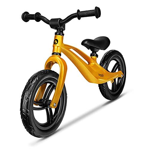 LIONELO Bart Bicicleta sin Pedales de 2 años hasta 30kg, Cuadro de magnesio, al Estilo Deportivo, Ruedas 12', Altura de Manillar y sillín Regulable, Muy Robusta y Ligera (Amarillo, Bart)