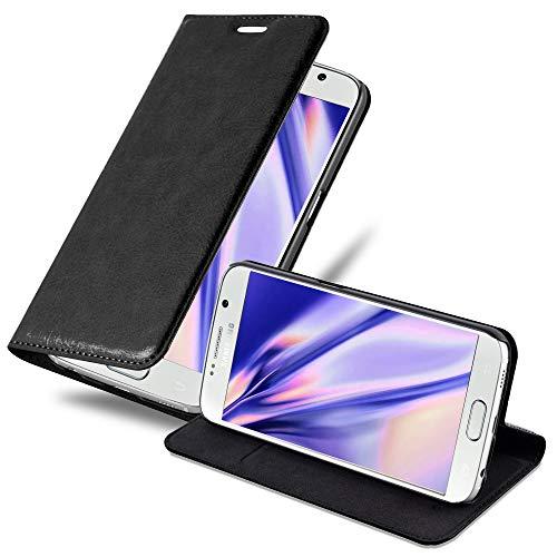 Cadorabo Hülle für Samsung Galaxy S6 in Nacht SCHWARZ - Handyhülle mit Magnetverschluss, Standfunktion und Kartenfach - Case Cover Schutzhülle Etui Tasche Book Klapp Style