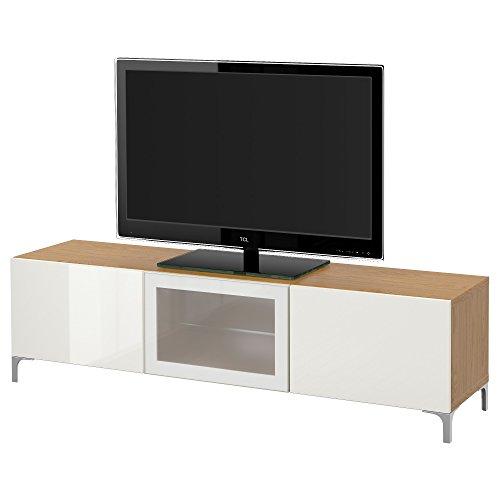 IKEA BESTA - Banc TV avec tiroirs et effet porte de chêne / haute brillance Selsviken / blanc en verre dépoli