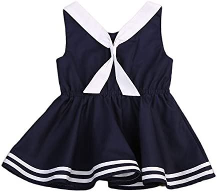Infant Baby Toddler Girls Bowknot Sailor Stripe Marine Navy Dress Onesie Outfit 1 2Y Navy Blue product image