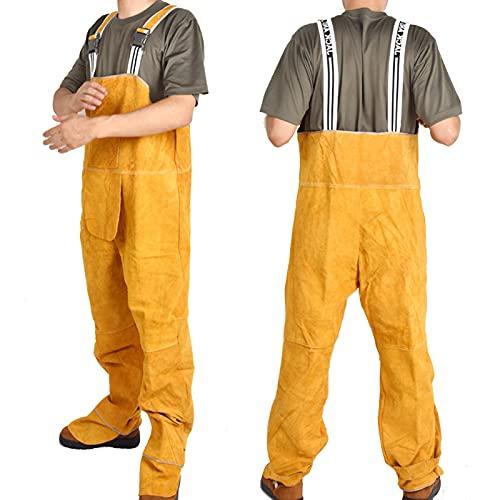 TXYJ Traje de soldadura, chaqueta de cuero, monos de cuero de vacuno, resistente al fuego, protección de pies, ideal para electricista, soldador, portero, amarillo, XXL