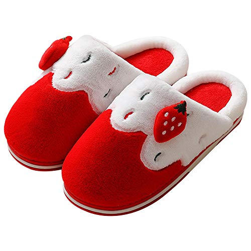 XZDNYDHGX Antideslizante Niño Cálidode Slippers Casa,Winter Women Strawberry Slippers Slip on Warm House Shoes, Men Women Lovers Indoor Shoes Red EU 37-38