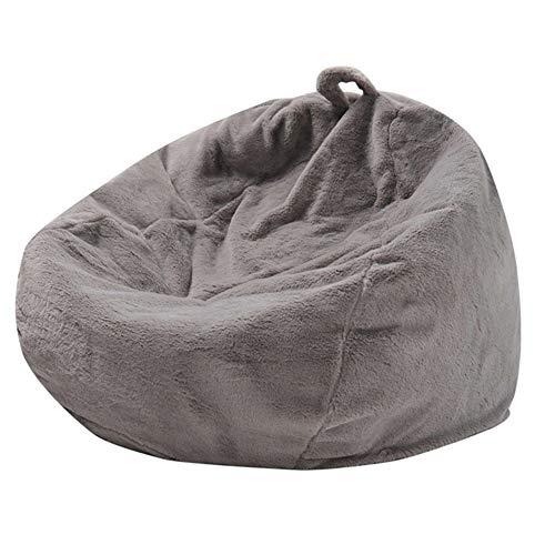 """Sitzsack Hülle Bezug, Premium Handgemachtes Kaninchenhaar Soft Comfy Riesen-Sitzsack-Hülle Sitzsack Außenbezug, Ohne Füllstoff, 39 * 47"""",Grau"""