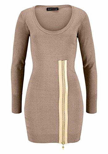 Melrose Damen-Kleid Strickkleid mit Reißverschluss Beige Größe 42